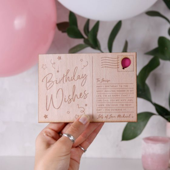 Personalised Birthday Wishes Wooden Postcard