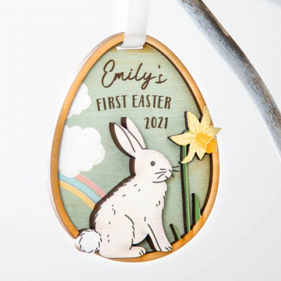 Layered Wooden First Easter Hanging Decoration