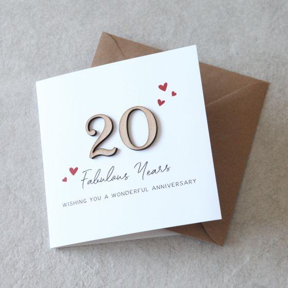 Wooden Numbers Anniversary Keepsake Card
