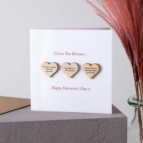 3 Reasons I Love You Wooden Hearts Keepsake Card