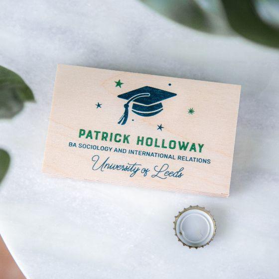 Simple Graduation Cap with Stars Wooden Bottle Opener
