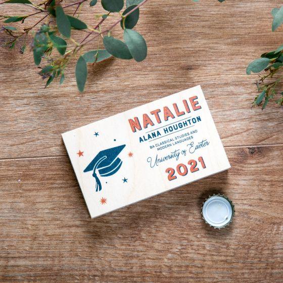 Typographic Graduation Wooden Bottle Opener