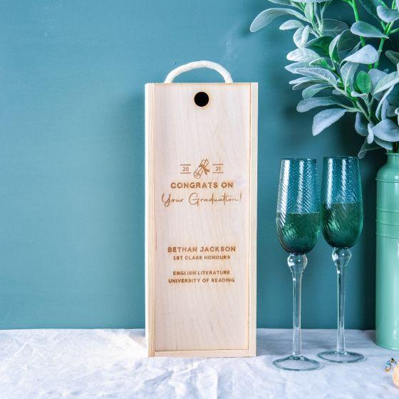 Engraved Graduation Celebration Bottle Box