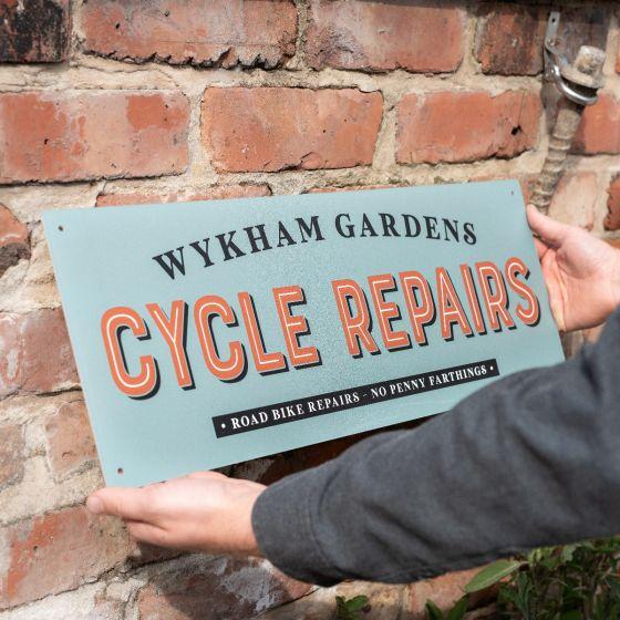 Cycle Repairs Metal Garage Sign
