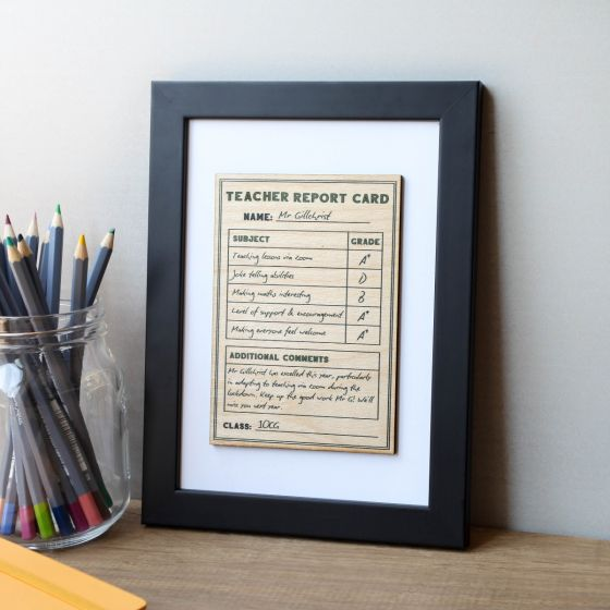 Report Card Framed Wooden Print