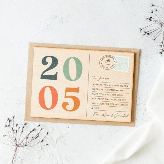Printed Wooden Big Birthday Postcard