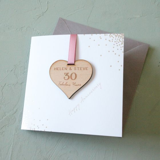 Personalised Anniversary Heart Keepsake Card
