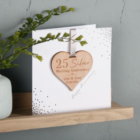 Foiled Anniversary Keepsake Heart Card