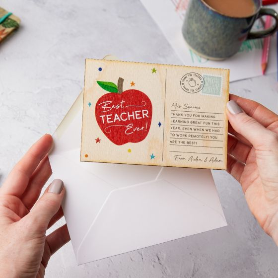 Best Teacher Ever Apple Printed Postcard