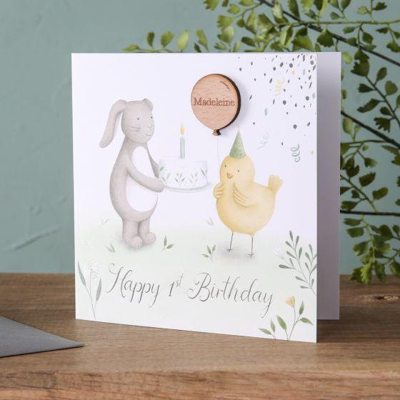 Bunny & Chick Birthday Card