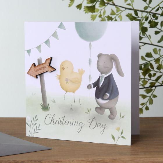 Bunny & Chick Christening Card