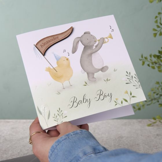 Bunny & Chick New Baby Card