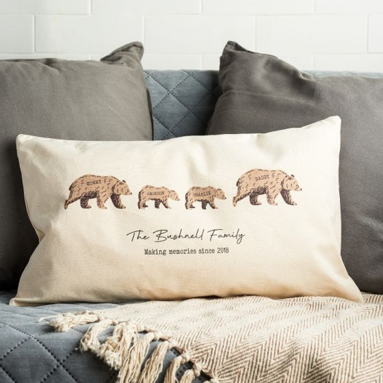 Personalised Grizzly Bear Family Cushion