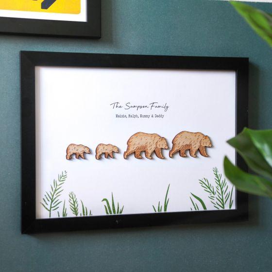 Wooden Bear Family 3d Framed Print