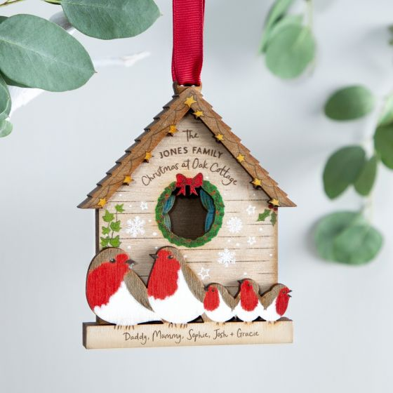 Family of Robins Christmas Bird House Decoration