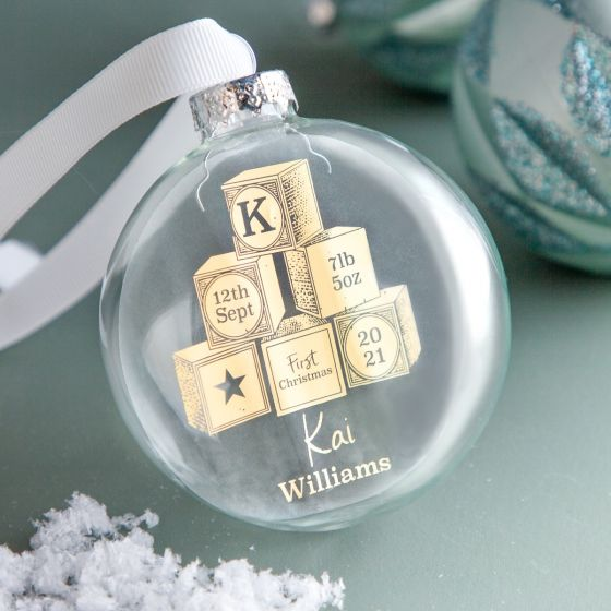 First Christmas Building Blocks Foiled Bauble