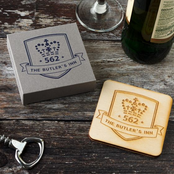 Set of 4 Personalised Wooden Pint Crest Coasters