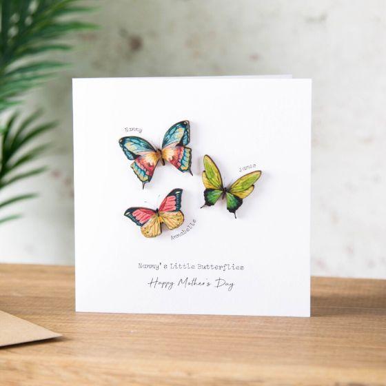 Wooden Butterfly Family Keepsake Card