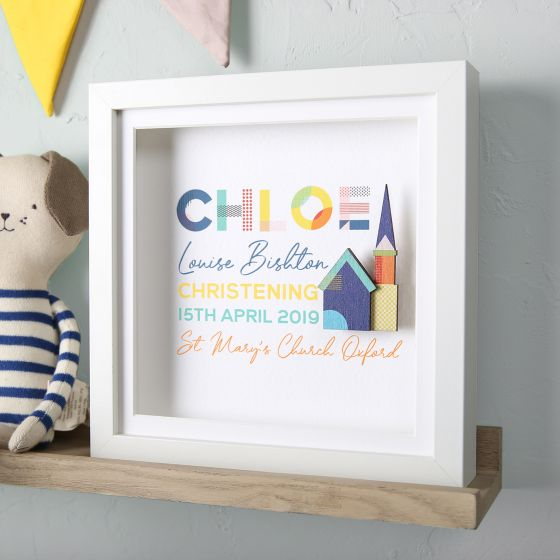 Personalised Colourful Christening Frame