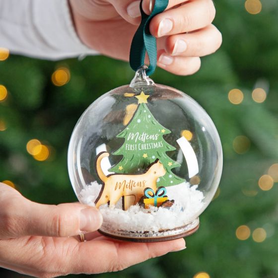 Wooden Cat Silhouette and Christmas Tree Bauble