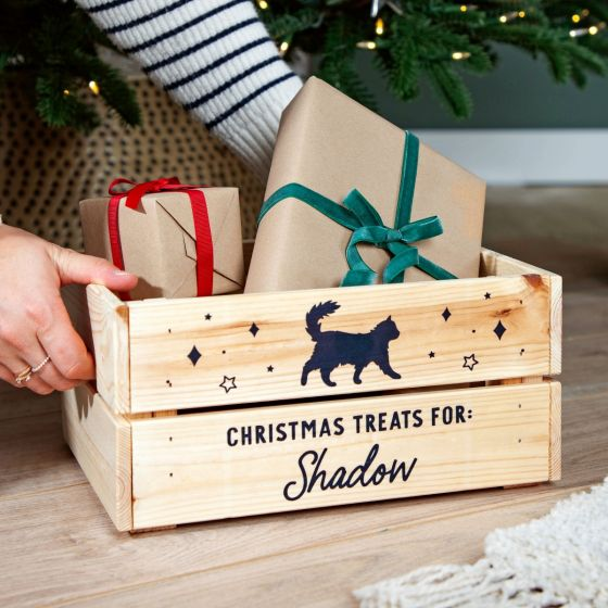 Cat Silhouette Pets Christmas Treats Crate