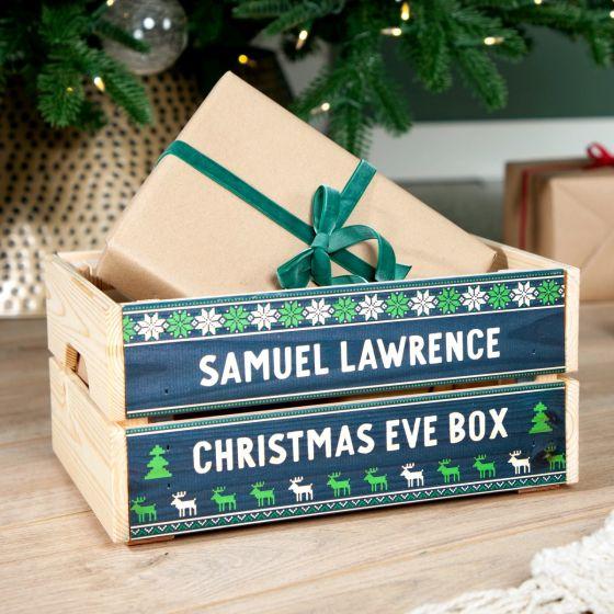 Navy Festive Pattern Christmas Eve Crate