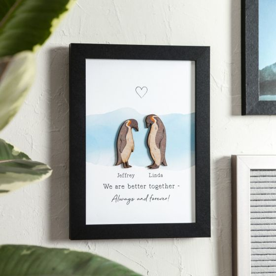 Personalised Penguins Couples Print