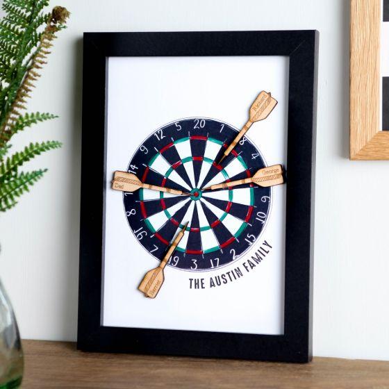 A5 Wooden Dart Board Framed Family Print