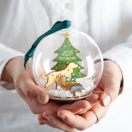 Wooden Dog Silhouette and Christmas Tree Bauble