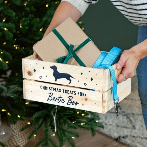 Dog Silhouette Pets Christmas Treats Crate