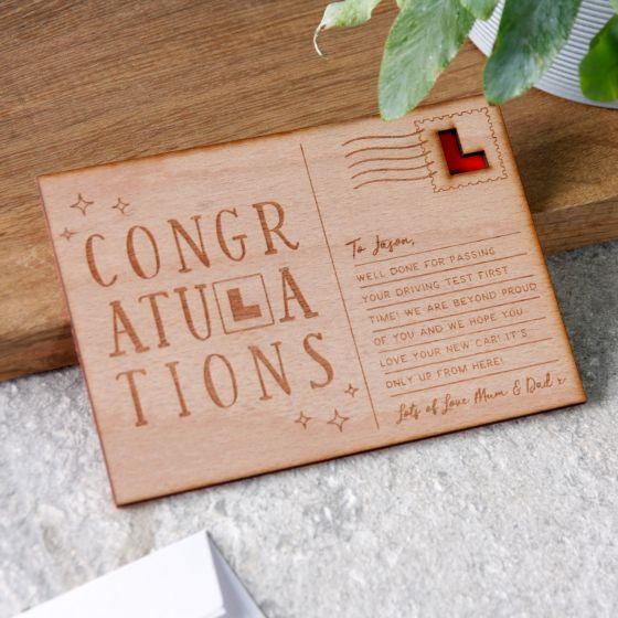 Personalised 'Passed Your Test' Wooden Post Card