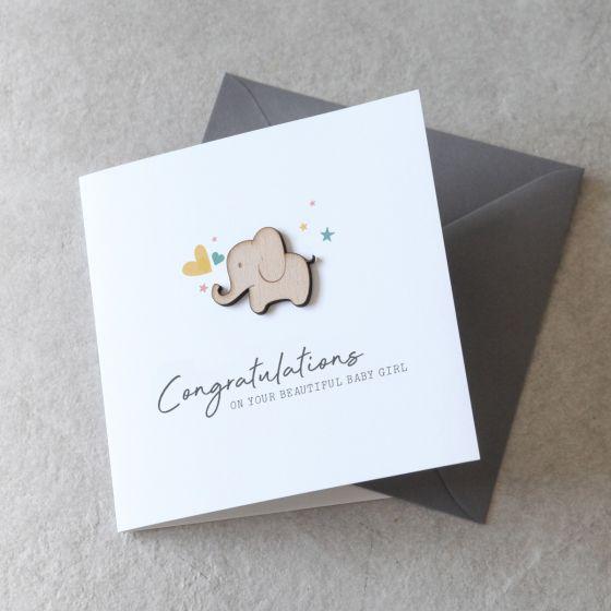 Wooden Elephant New Baby Keepsake Card