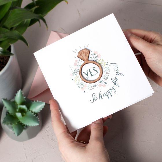 Floral Engagement Keepsake Card