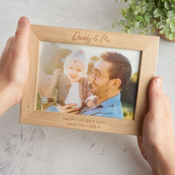 'Daddy & Me' Engraved Oak Photo Frame