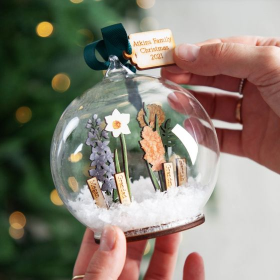 Personalised 3D Wooden Family Birth Flowers Bauble