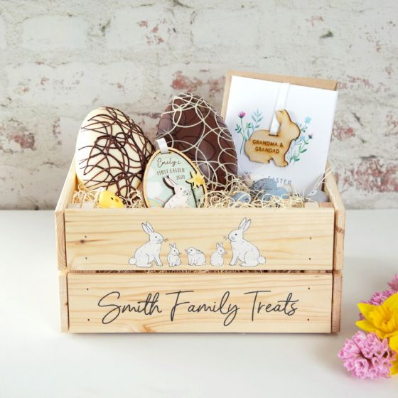 Family of Bunnies Personalised Wooden Crate (Contents not included)