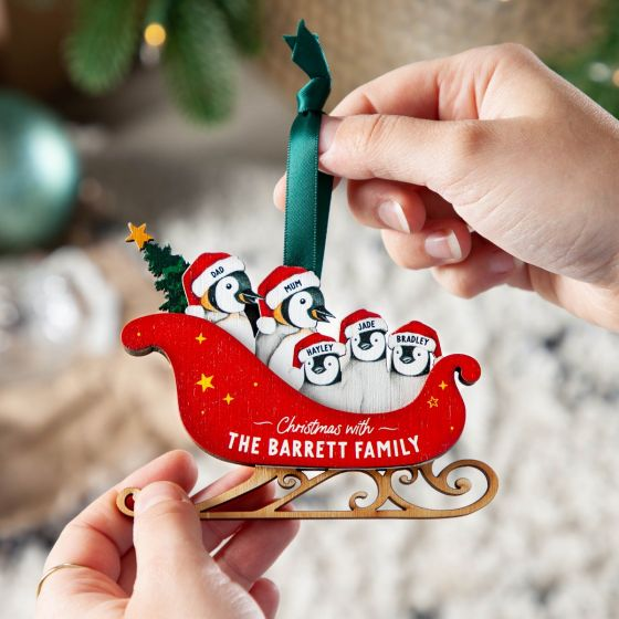 Family of Penguins Sleigh Wooden Layered Hanging Decoration