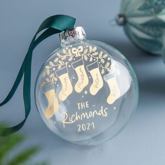 Foiled Christmas Stockings Glass Family Bauble