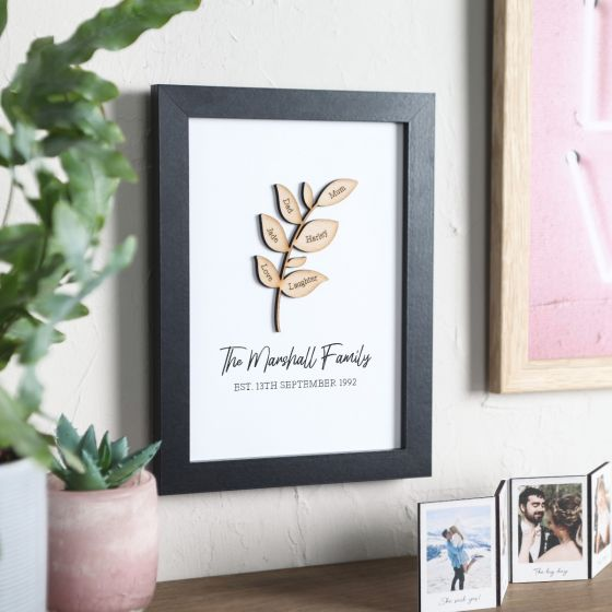 Family Tree Branch A5 Print In Black Frame