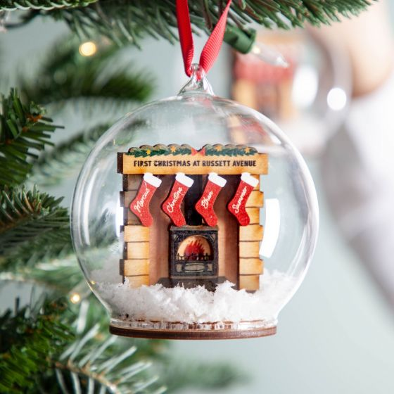 Personalised 3D Fireplace with Family Stockings Bauble