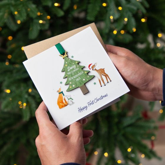 First Christmas Hanging Tree Decoration Keepsake Card