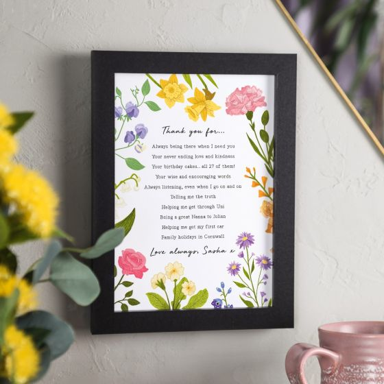 Floral 'Thank You' A5 Framed Print