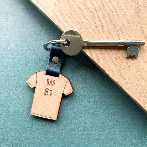 Personalised Wooden Football Shirt Keyring
