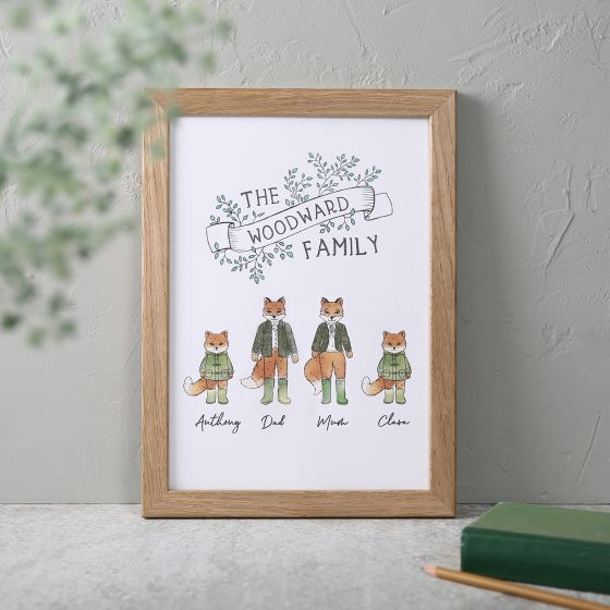 Illustrated Fox Family Print