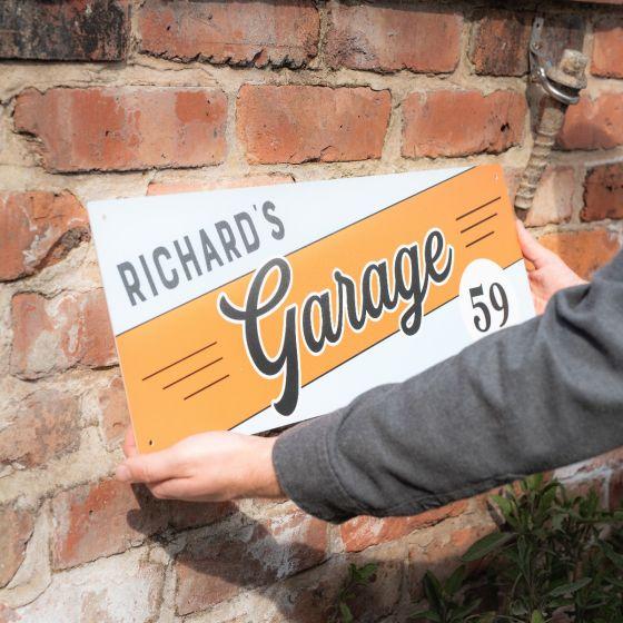 Classic Stripe Design Metal Garage Sign