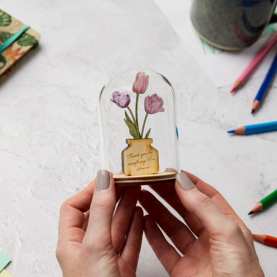 Wooden Tulips in Glass Dome
