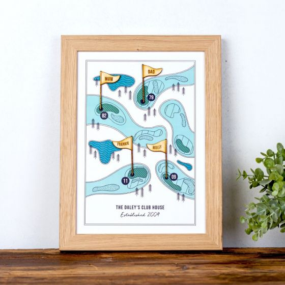 Personalised Family Golf Print