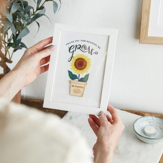 Sunflower Thank You Teacher Framed Print