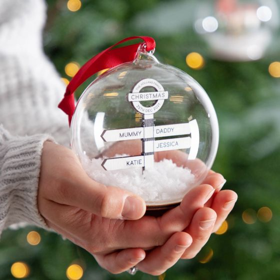 Personalised Family Guidepost Bauble