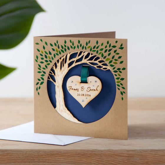 Wooden Anniversary Hanging Heart Tree Keepsake Card